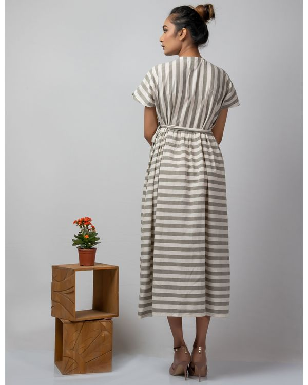 White and grey striped wrap around dress 3