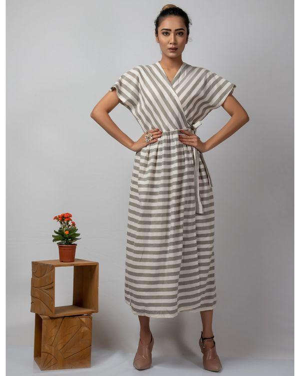 White and grey striped wrap around dress 2