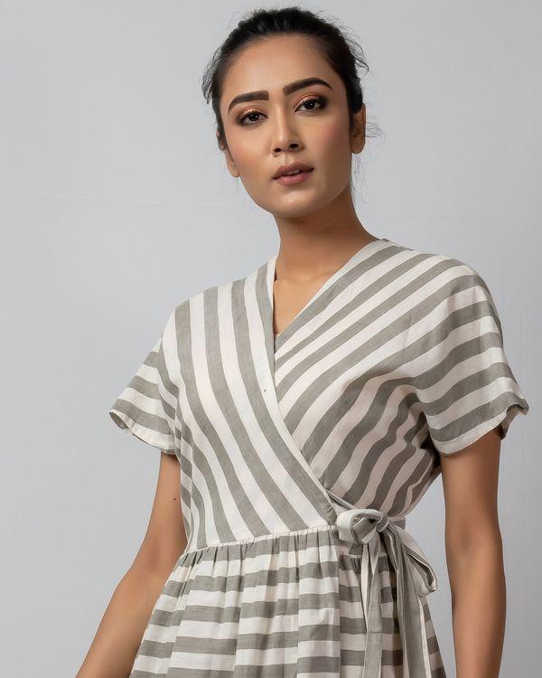 White and grey striped wrap around dress 1