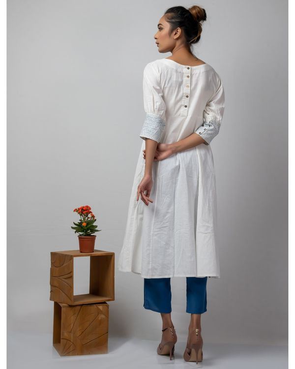 White and blue flared dress with kantha work 2