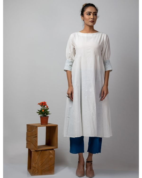 White and blue flared dress with kantha work 1