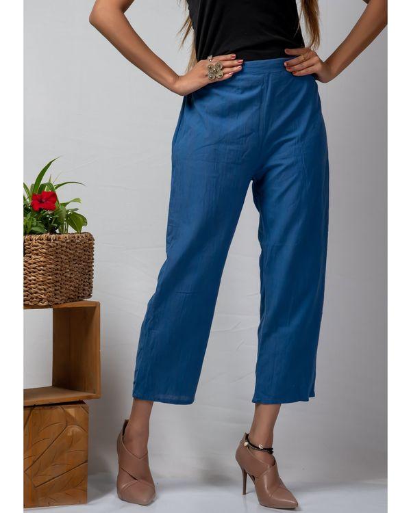 Blue straight cotton pants 1