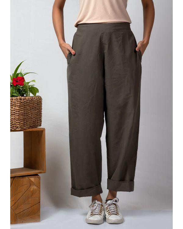 Grey rolled hem cotton pants 1
