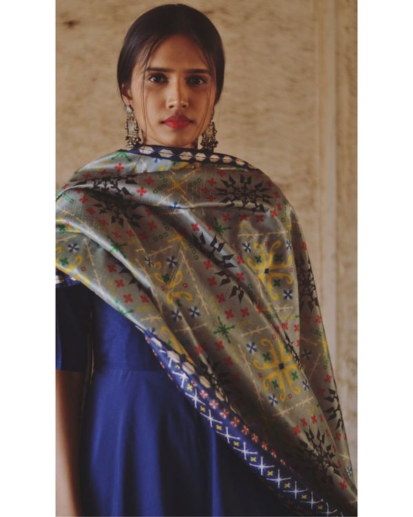 Navy blue flared dress and dupatta set- Set Of Two 1