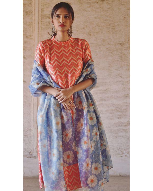 Orange and blue zig zag printed kurta and pants with dupatta set- Set Of Two 2
