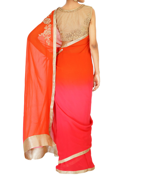 Ombre dyed orange and pink gold rose embroidered sari 3