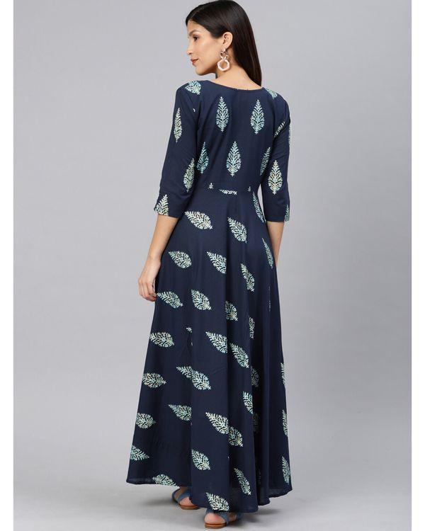 Navy blue leaf printed dress 3