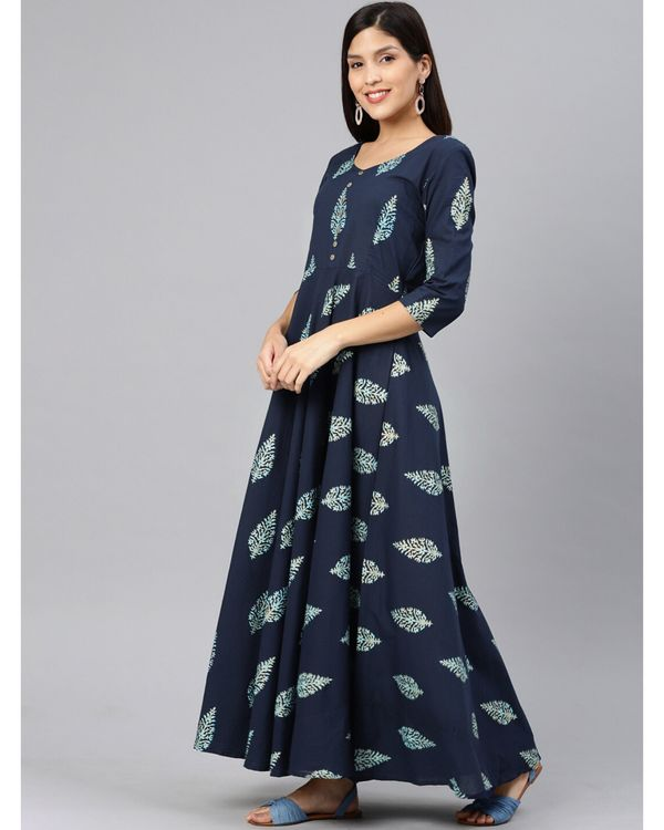 Navy blue leaf printed dress 2