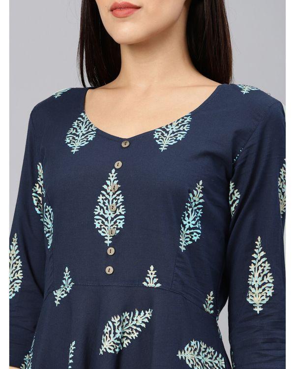 Navy blue leaf printed dress 1