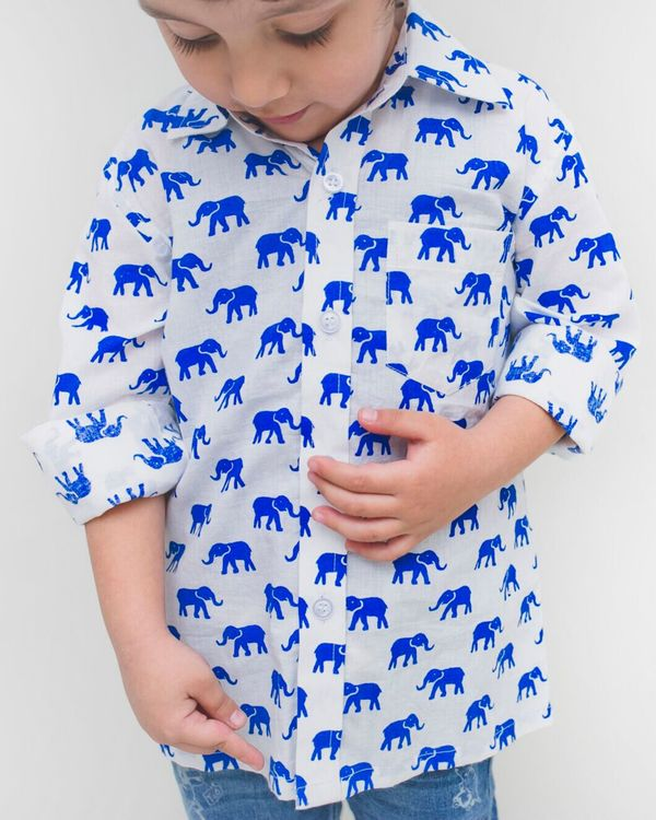 White and blue elephant printed shirt 1