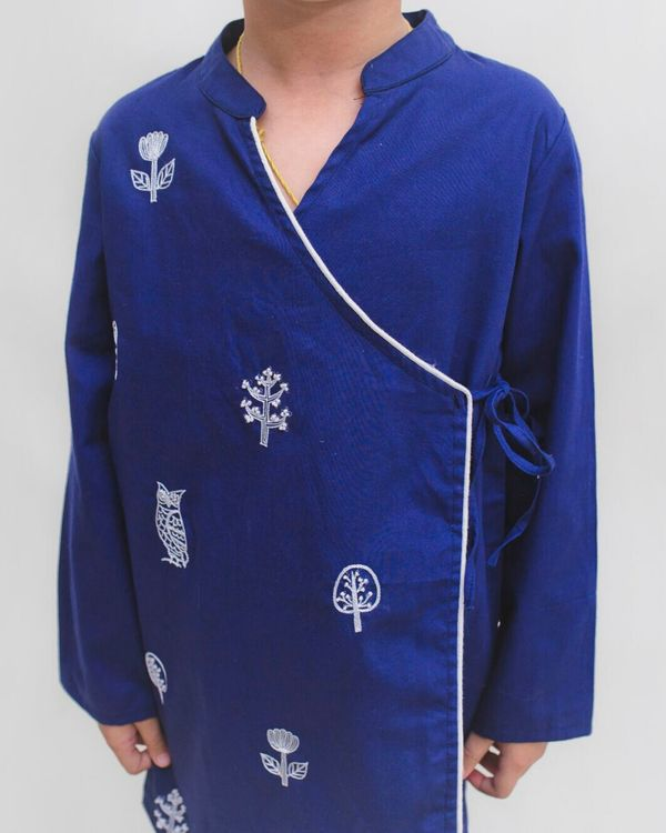 Royal blue owl embroidered angrakha kurta 1