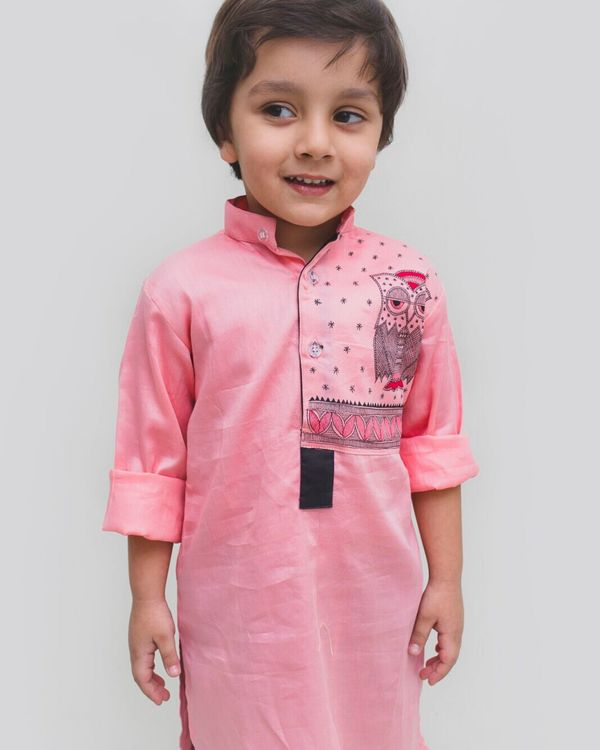 Pink madhubani hand painted kurta 1