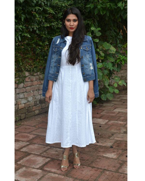 white pure chikankari cotton dress 1