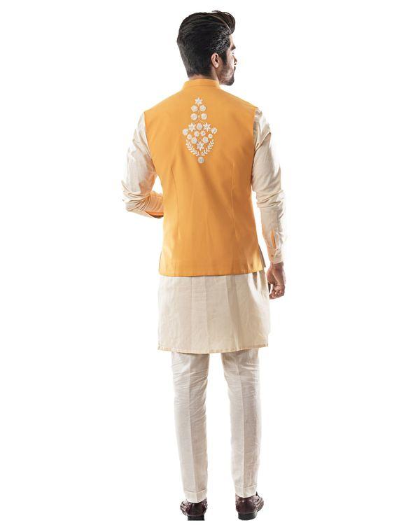 Yellow embroidered asymmetrical bandi and kurta with pants set- Set Of Three 3