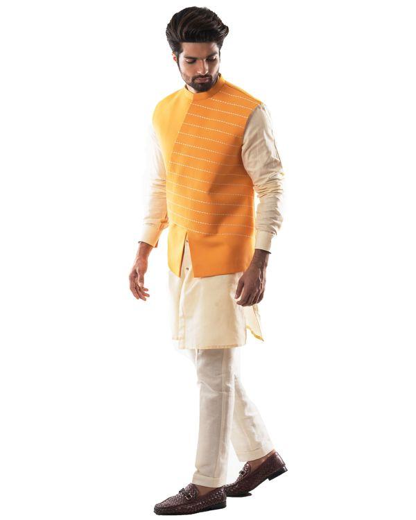 Yellow embroidered asymmetrical bandi and kurta with pants set- Set Of Three 2