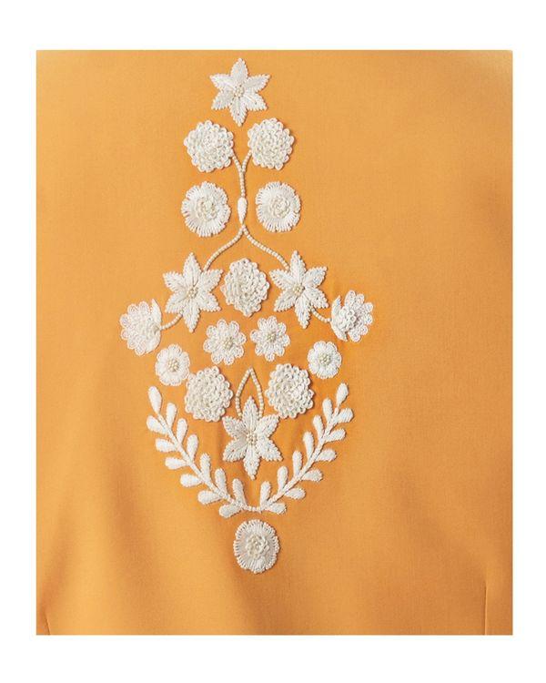 Yellow embroidered asymmetrical bandi and kurta with pants set- Set Of Three 1