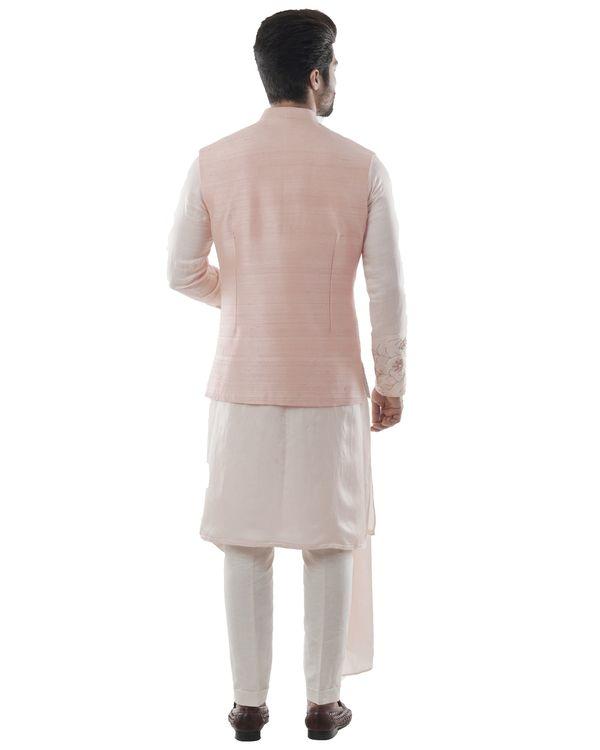 Pearl pink zardozi jacket and dusty pink asymmetrical kurta with pants set- Set Of Three 2
