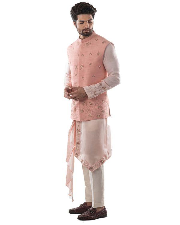 Pearl pink zardozi jacket and dusty pink asymmetrical kurta with pants set- Set Of Three 1