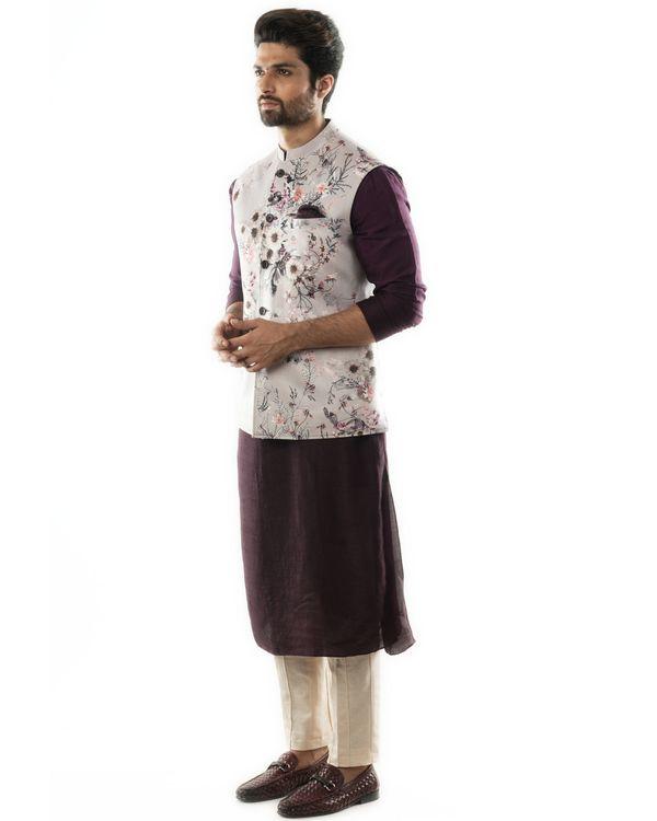 Dusty grey floral nehru jacket and kurta with pants set- Set Of Three 1