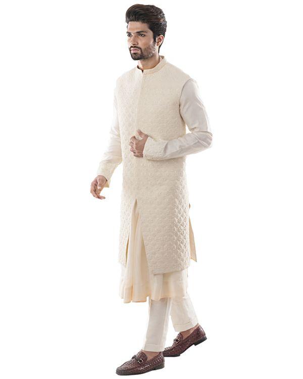 Off white zari embroidered bandi and anarkali kurta with pants set- Set Of Three 1