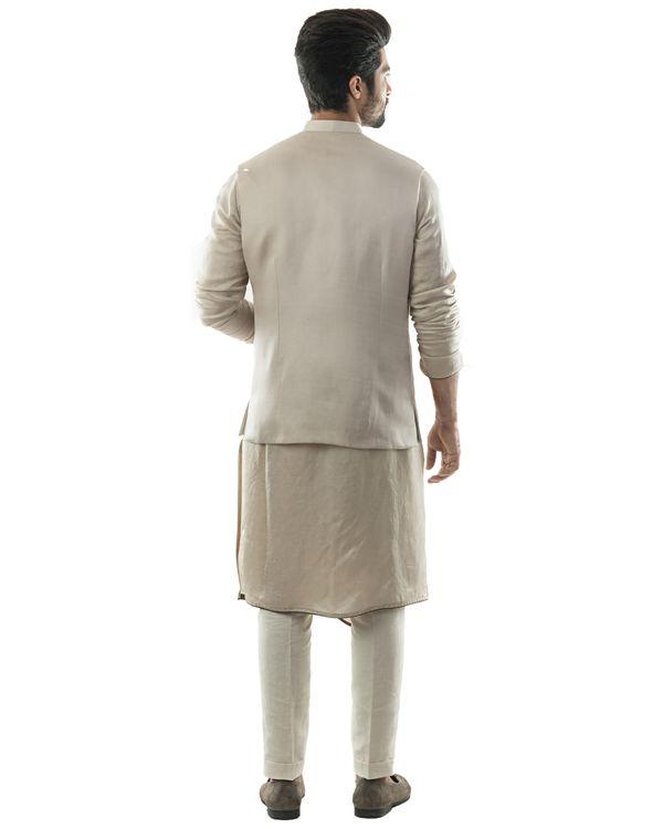 Oyster grey embroidered nehru jacket with draped kurta and pants set- Set Of Three 2