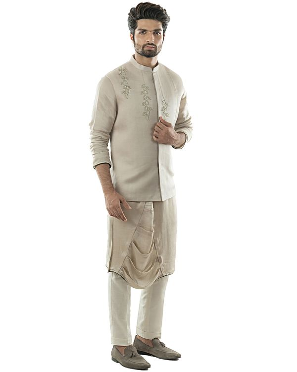 Oyster grey embroidered nehru jacket with draped kurta and pants set- Set Of Three 1