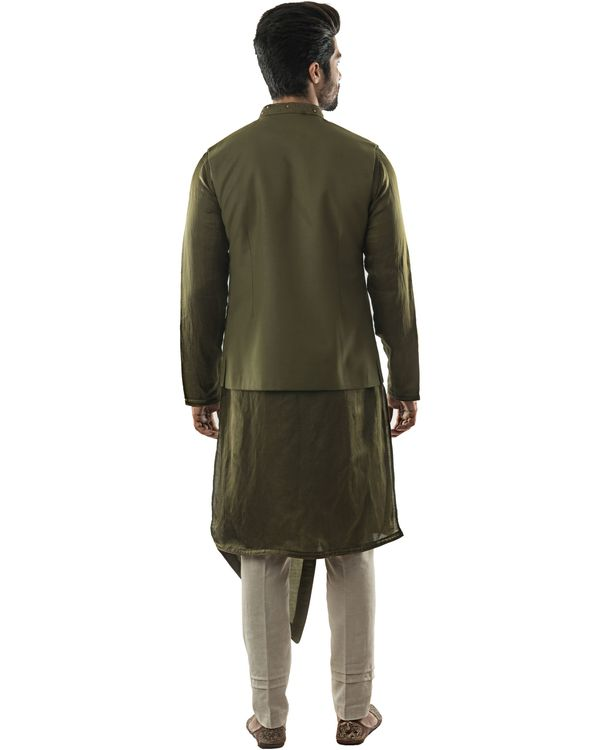 Olive green jaal embroidered jacket 2