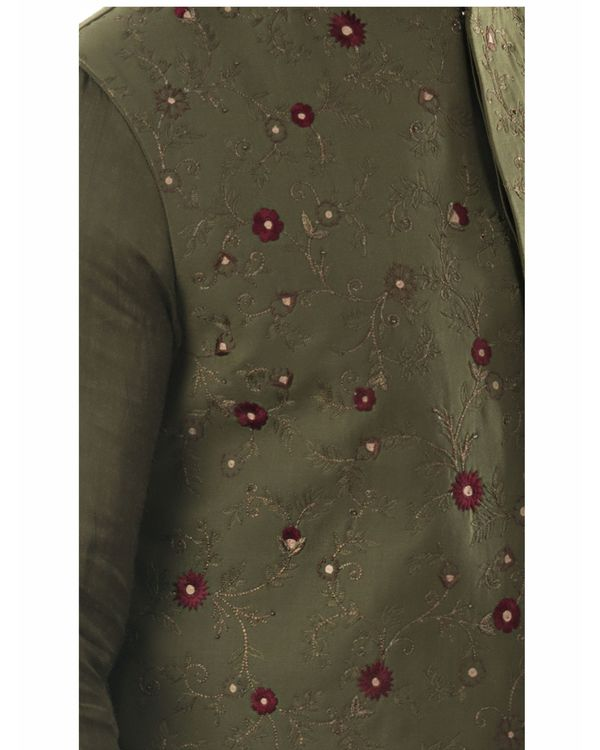 Olive green jaal embroidered jacket 1