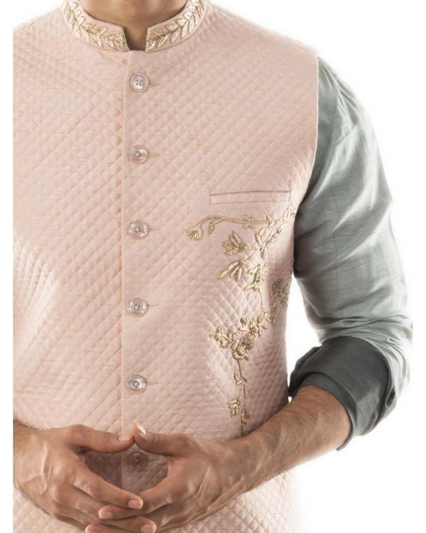 Pink hand embroidered nehru jacket with quilting detail 1