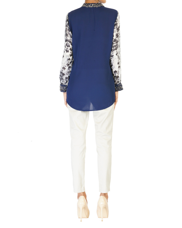 Embroidered navy with printed sleeves top 1