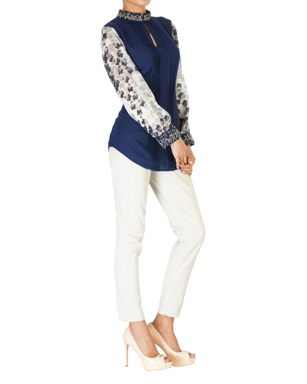 Embroidered navy with printed sleeves top 2