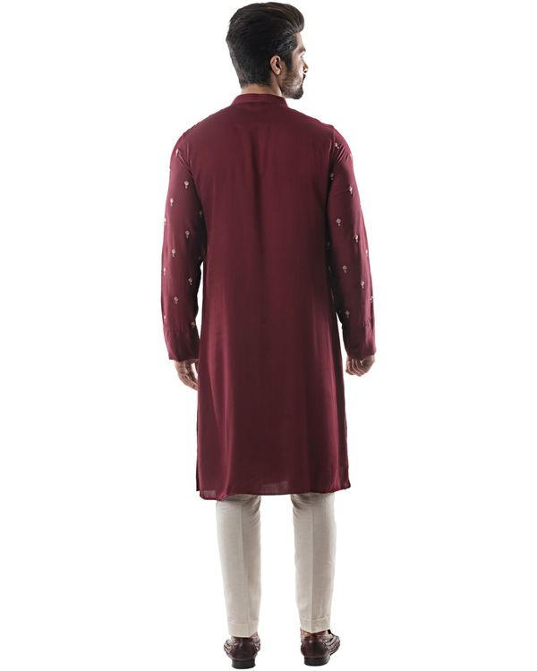 Maroon embroidered drape kurta and pants set- Set Of Two 3