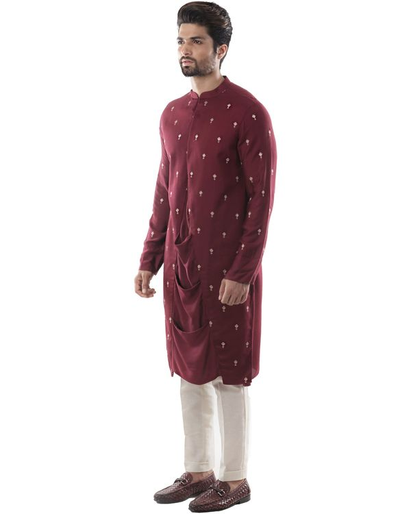 Maroon embroidered drape kurta and pants set- Set Of Two 2