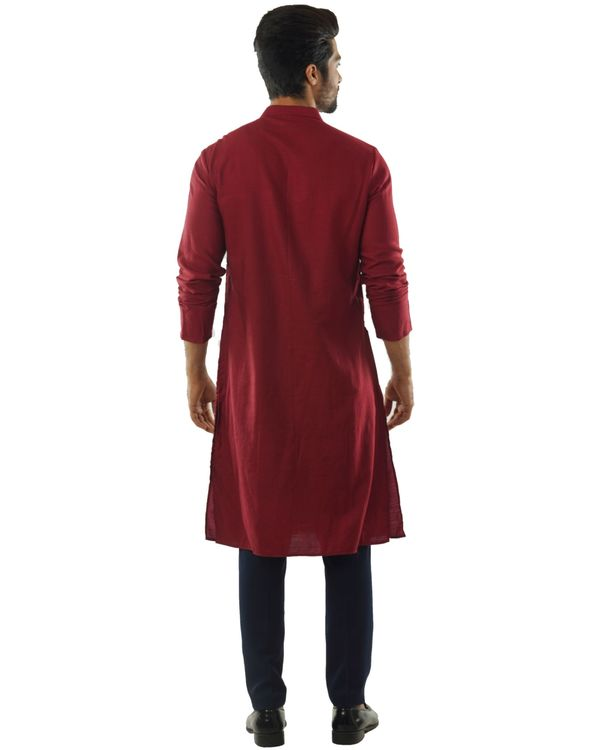Maroon overlap embroidered kurta and pants set- Set Of Two 3