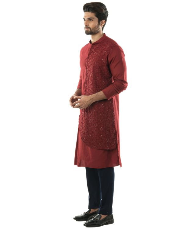 Maroon overlap embroidered kurta and pants set- Set Of Two 2