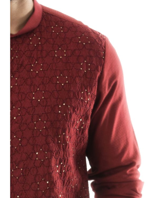 Maroon overlap embroidered kurta and pants set- Set Of Two 1