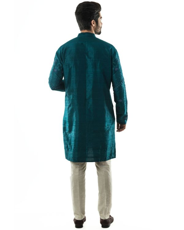 Peacock green hand embroidered kurta and pants set- Set Of Two 3