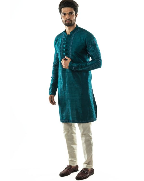 Peacock green hand embroidered kurta and pants set- Set Of Two 2