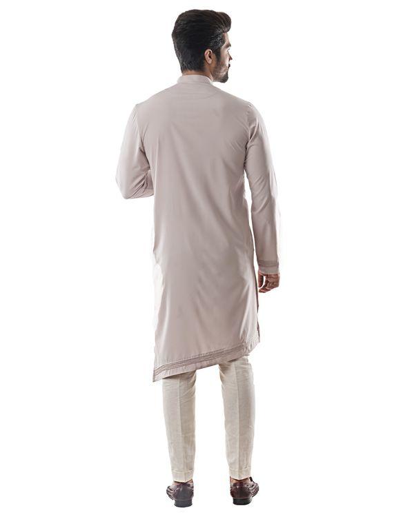 Ice grey asymmetrical pin tuck kurta and pants set- Set Of Two 1