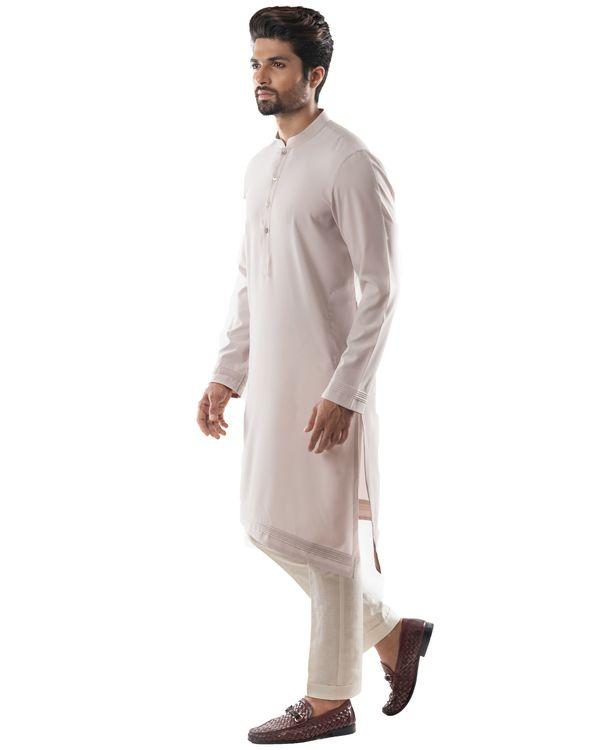 Ice grey asymmetrical pin tuck kurta and pants set- Set Of Two 2