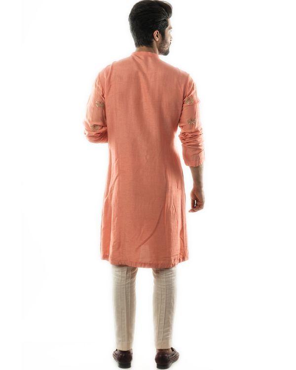 Peachy orange embroidered short kurta and pin tuck pants set- Set Of Two 3