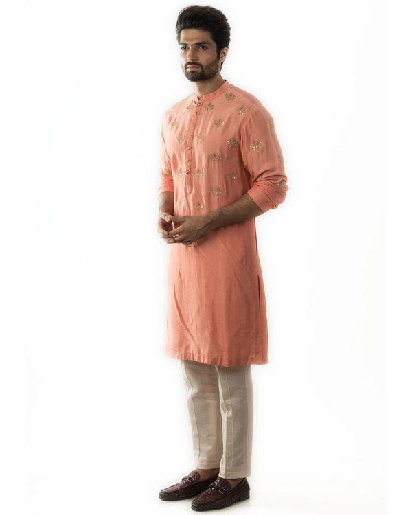 Peachy orange embroidered short kurta and pin tuck pants set- Set Of Two 2