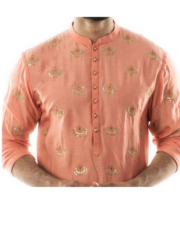 Peachy orange embroidered short kurta and pin tuck pants set- Set Of Two 1