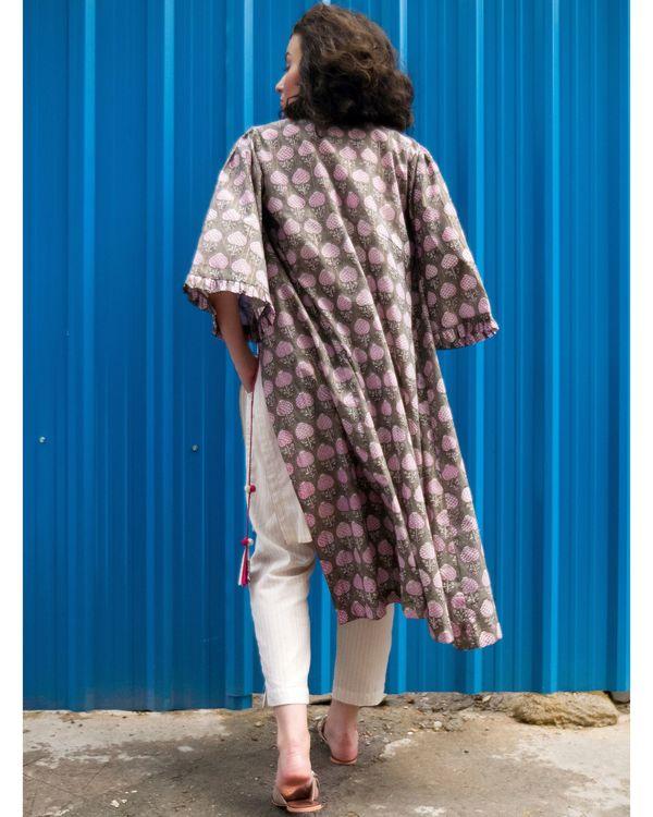 Ecru kurta and pants with ash grey cover-up- Set Of Three 3