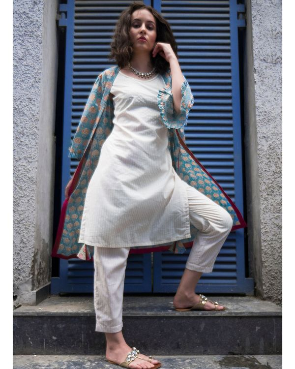 Ecru kurta and pants with sky blue cover-up- Set Of Three 3