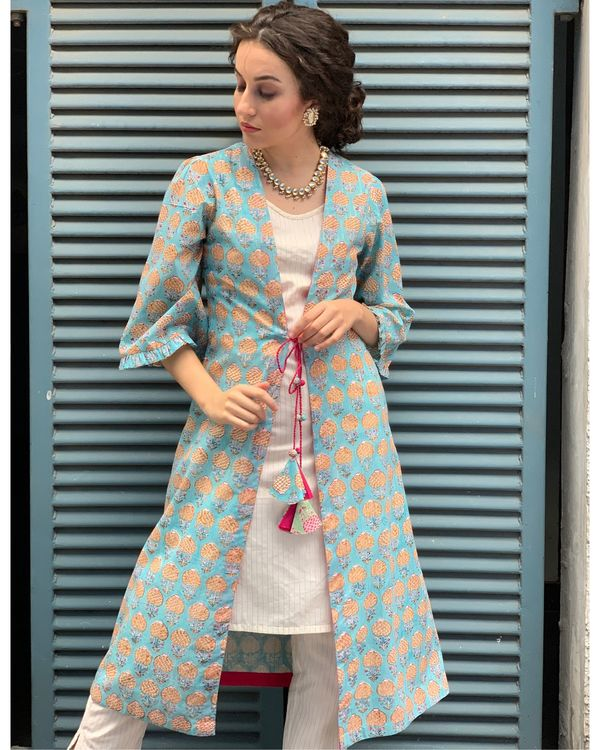 Ecru kurta and pants with sky blue cover-up- Set Of Three 2
