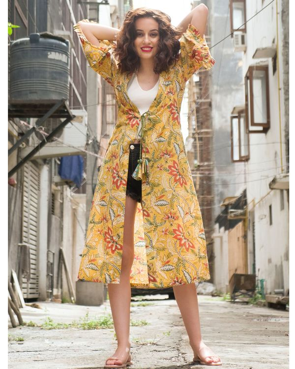 Yellow floral printed cover-up 2