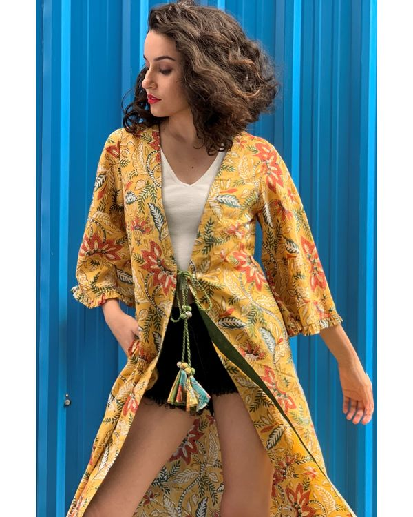 Yellow floral printed cover-up 1