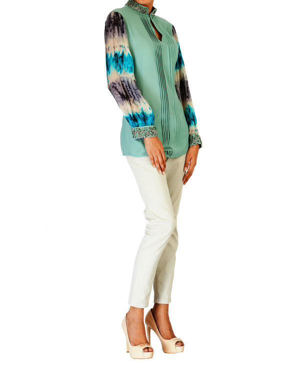 Embroidered pale sea green with printed sleeves top 1