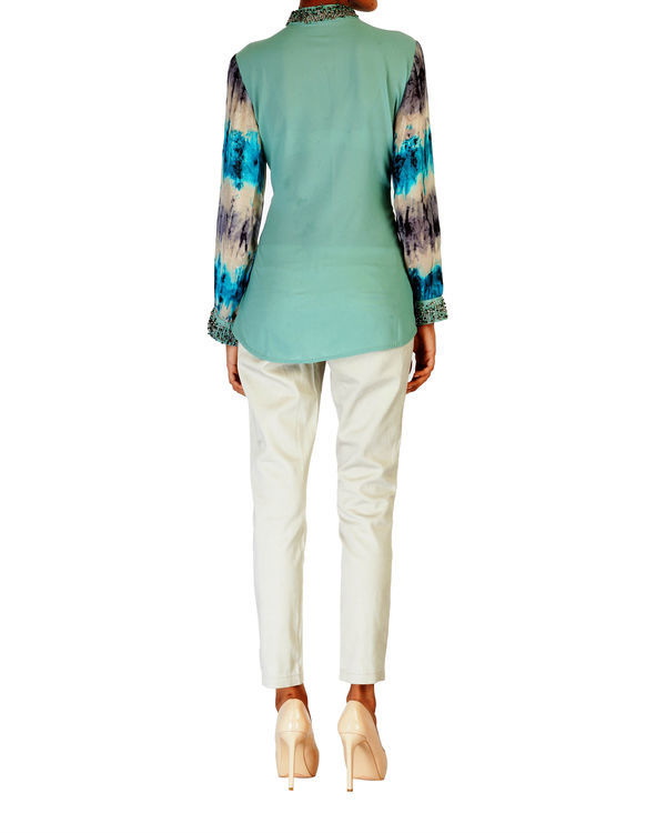 Embroidered pale sea green with printed sleeves top 2
